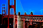 Tourist Attraction Digital Art Acrylic Prints - San Francisco Golden Gate Bridge Electrified Acrylic Print by Wingsdomain Art and Photography