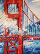 Fog Drawings - San Francisco Golden Gate Bridge  by Eric  Schiabor