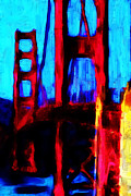Bay Area Digital Art Metal Prints - San Francisco Golden Gate Bridge Metal Print by Wingsdomain Art and Photography
