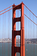 Historic Bridges Art Prints - San Francisco in The Distance Through The Golden Gate Bridge . 7D14512 Print by Wingsdomain Art and Photography