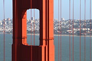 Golden Gate Bridge Acrylic Prints - San Francisco in The Distance Through The Golden Gate Bridge . 7D14527 Acrylic Print by Wingsdomain Art and Photography
