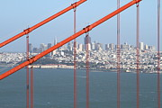 Historic Bridges Art Prints - San Francisco in The Distance Through The Golden Gate Bridge . 7D14538 Print by Wingsdomain Art and Photography