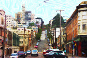 Metro Metal Prints - San Francisco Lombard Street Metal Print by Wingsdomain Art and Photography