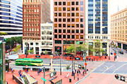 Streetscape Digital Art Acrylic Prints - San Francisco Market Street - 5D17877 - Painterly Acrylic Print by Wingsdomain Art and Photography