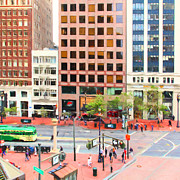 Streetcar Digital Art - San Francisco Market Street - 5D17877 - Square - Painterly by Wingsdomain Art and Photography