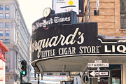 Street Lamps Digital Art Posters - San Francisco Marquards Little Cigar Store on Powell and OFarrell Streets - 5D17954 - Painterly Poster by Wingsdomain Art and Photography