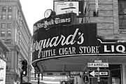 Crosswalk Photo Metal Prints - San Francisco Marquards Little Cigar Store Powell and OFarrell Streets - 5D17954 - black and white Metal Print by Wingsdomain Art and Photography