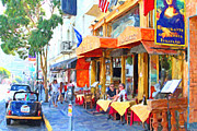 Streets Digital Art Posters - San Francisco North Beach Outdoor Dining Poster by Wingsdomain Art and Photography