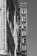 Theater District Prints - San Francisco Orpheum Theatre - 5D17996 - black and white Print by Wingsdomain Art and Photography