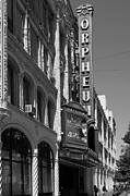 Theater District Prints - San Francisco Orpheum Theatre - 5D17997 - black and white Print by Wingsdomain Art and Photography