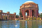 Swans Digital Art - San Francisco Palace of Fine Arts - 5D18085 - Painterly by Wingsdomain Art and Photography