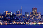 Illuminated Framed Prints - San Francisco Skyline At Dusk Framed Print by David Rout