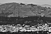 Suburbs Posters - San Francisco Skyline-Golden Gate Bridge Poster by Douglas Barnard