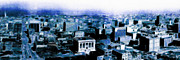 Skylines Posters - San Francisco Skyline Panorama 1909 From The Ferry Building Through South of Market . Blue Poster by Wingsdomain Art and Photography