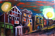 Townhomes Framed Prints - San Francisco Street Framed Print by Nathalie Fabri