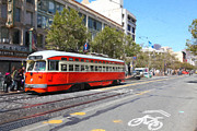 Old Theater Framed Prints - San Francisco Streetcar at The Orpheum Theatre - 5D17998 - Painterly Framed Print by Wingsdomain Art and Photography