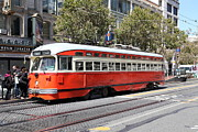 Old Theater Framed Prints - San Francisco Streetcar at The Orpheum Theatre - 5D17999 Framed Print by Wingsdomain Art and Photography