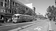 Trollies Photos - San Francisco Streetcar at The Orpheum Theatre - 5D18000 - black and white by Wingsdomain Art and Photography