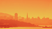 Yellow Sky Prints - San Francisco Sunset Print by Flash Parker
