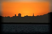 Sunset Posters Digital Art Framed Prints - San Francisco Sunset Framed Print by Paul Baker