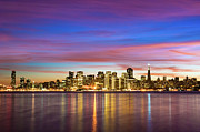 Illuminated Framed Prints - San Francisco Sunset Framed Print by Photo by Alex Zyuzikov