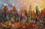 Palette Knife Art Posters - San Francisco Poster by Tatiana Iliina
