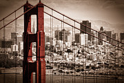 Red  Prints - San Francisco through the Bridge Print by Matt  Trimble