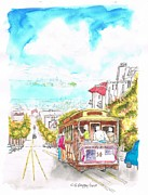 Landmarks Painting Framed Prints - San-Francisco-trolley-California Framed Print by Carlos G Groppa