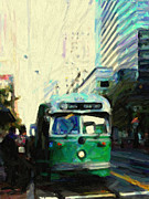Cityscape Digital Art Metal Prints - San Francisco Trolley F Line On Market Street Metal Print by Wingsdomain Art and Photography