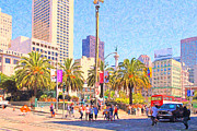 Lane Digital Art - San Francisco Union Square by Wingsdomain Art and Photography