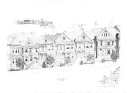 Square Art Drawings - San Francisco Victorians by Edward Williams