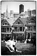Painted Ladies Framed Prints - San Francisco View ll - black and white Framed Print by Hideaki Sakurai