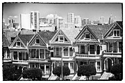 Alamo Square Framed Prints - San Francisco View lll - black and white Framed Print by Hideaki Sakurai