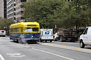 Trollies Photos - San Francisco Vintage Streetcar on Market Street - 5D17849 by Wingsdomain Art and Photography