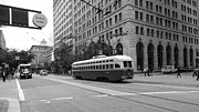 Trollies Photos - San Francisco Vintage Streetcar on Market Street - 5D17862 - black and white by Wingsdomain Art and Photography