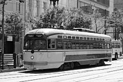 Trollies Photos - San Francisco Vintage Streetcar on Market Street - 5D17972 - black and white by Wingsdomain Art and Photography