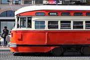 Vintage Buses Photos - San Francisco Vintage Streetcar on Market Street - 5D18001 by Wingsdomain Art and Photography