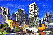 Plazas Posters - San Francisco Yerba Buena Garden Through The Eyes of Van Gogh . 7D4262 Poster by Wingsdomain Art and Photography