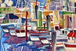 Yachts Drawings Prints - San Fransico Marina Print by Mindy Newman