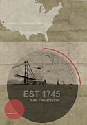 San Francisco Bay Bridge Pyrography Posters - San Fransisco Poster by Irina  March