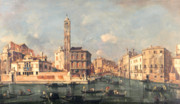 Gondolas Paintings - San Geremia and the Entrance to the Canneregio by Francesco Guardi
