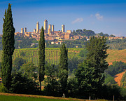 Italian Landscapes Prints - San Gimignano Print by Inge Johnsson