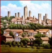 Italian White Poppy Paintings - San Gimignano Tuscany by Massimo Dilecce