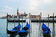 San Giorgio Maggiore And Gondolas Print by David Waldo