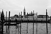 Gondolier Framed Prints - San Giorgio Maggiore and Gondolier Framed Print by David Waldo
