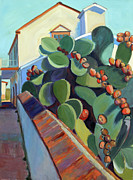 San Juan Paintings - San Juan Bautista Prickly Pear by Sandra Smith-Dugan