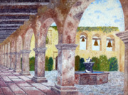 San Juan Paintings - San Juan Capistrano Courtyard by Laura Iverson