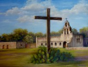 Mission Pastels Framed Prints - San Juan Capistrano Mission Framed Print by Pat Neely