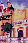 Puerto Rico Paintings - San Juan Cathedral by Estela Robles