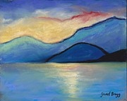 San Juan Drawings - San Juan Island Twilight in pastels by Janel Bragg